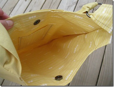 handmade yellow bag with metal snap