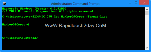 command prompt (Admin) Number of CPU Cores