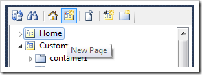 New Page icon on the toolbar of Project Explorer.