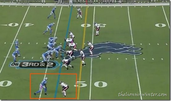 The Chicago Bears showing a deep cover one look against the Detroit Lions. Calvin Johnson is single covered. Brandon Meriweather is off frame to the right. Trust me.