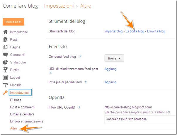 come esportare salvare contenuto post blog blogger