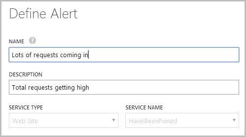 Defining a new alert