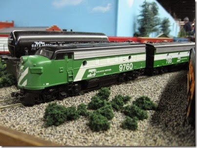 IMG_5465 Burlington Northern F7A #9760 & F7B #786 on the LK&R HO-Scale Layout at the WGH Show in Portland, OR on February 17, 2007