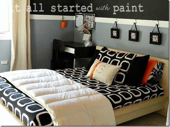 Teen Room orange gray black bed
