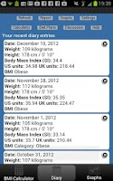 Screenshot of BMI Calculator Weight Tracker