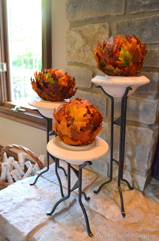 leaf balls on pedestals