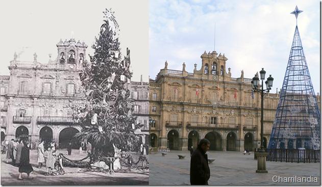 Arbol navidad Plaza Mayor Salamanca 1960-2010