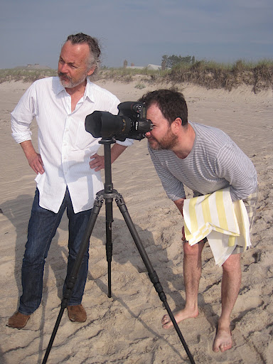 Photographer James Merrell and our art director, Daniel Biasatti, check on the setup through the camera.
