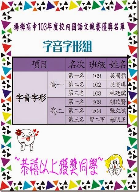 103年度校內國語文競賽獲獎名單-字音字形組