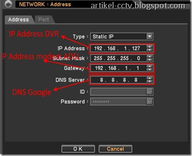 menu ip address dvr