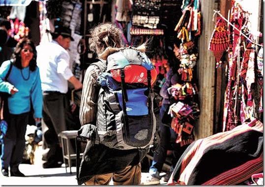 Turistas en La Paz, Bolivia