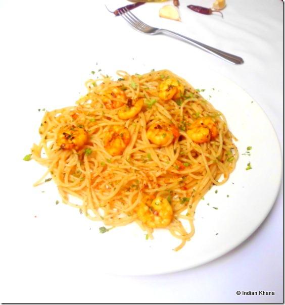 Quick easy prawn aglio olio pasta recipe