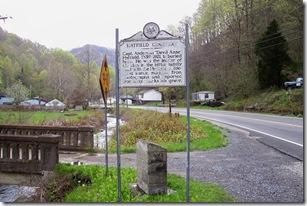 Hatfield Cemetery marker near Sarah Ann, WV on Route 44.