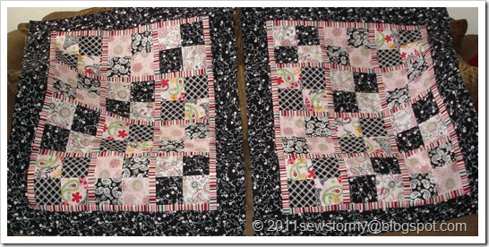 pink and black baby quilts
