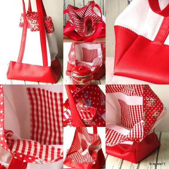 dots and roses in red bag