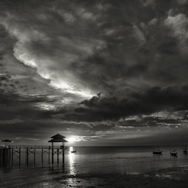 Sunrise at Kenjeran by Haryo Suryo - Black & White Landscapes ( cloud, cloudscape, beach, sunrise, morning )