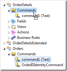 Dropping command1 on Commands node of Order Details.