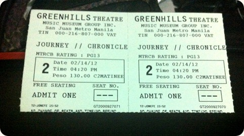 Journey 2 tickets Greenhills