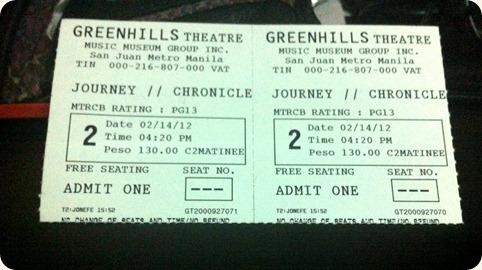 Journey 2 tickets Greenhills