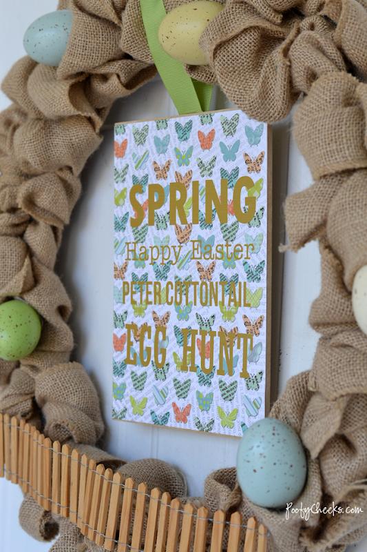 Simple Spring Easter Burlap Wreath