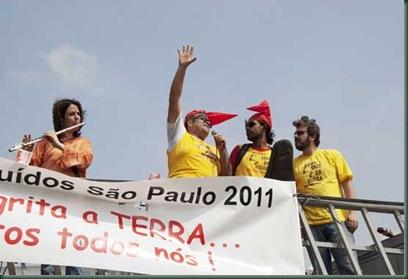 O Bloco da Saci da Bixiga na 14ª Romária a Pé Grito dos Excluidos de São Paulo. . Da Praça da Sé ao Monumento da Independência. São Paulo, SP. Fotos: Jesus Carlos.