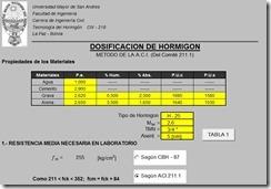 Dosificacion de hormigon metodo ACI 211.1 EHE