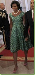 michelle-obama-pink-shoes-green-dress