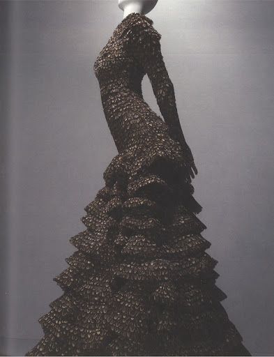 A gown made entirely of pheasant feathers for the