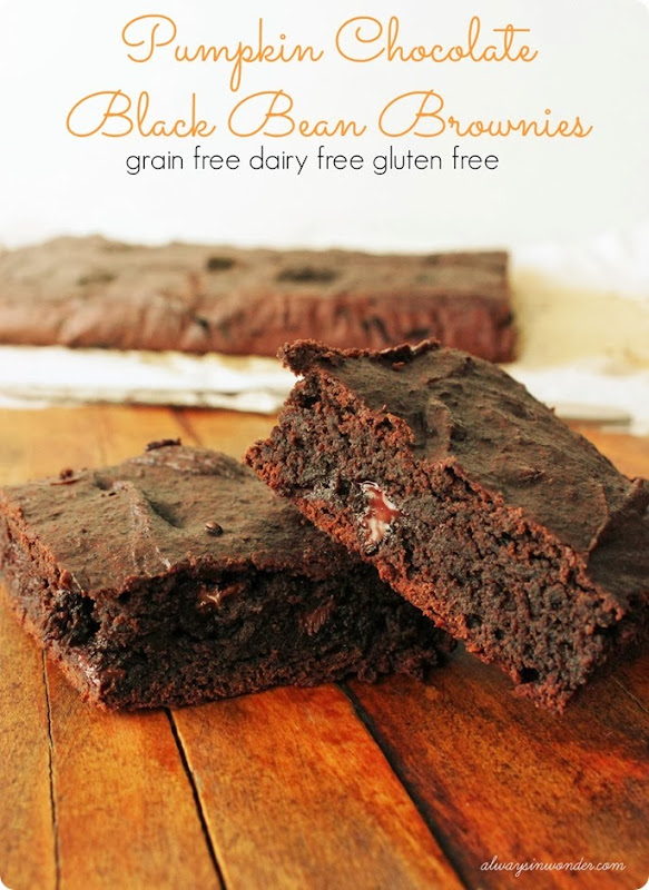 Pumpkin Chocolate Black Bean Brownies from Alwaysinwonder