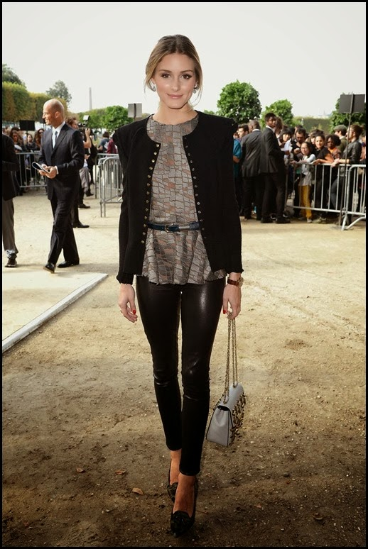 Olivia-showed-her-glam-rock-side-Elie-Saab-shimmering-top-strong-shouldered-jacket-pair-ultraslick-leather-leggings