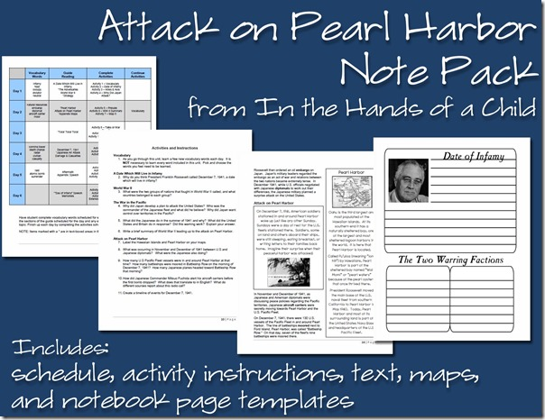 Homeschooling Hearts Minds Attack on Pearl Harbor Study from In – Pearl Harbor Worksheet