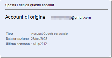 Google account di origine