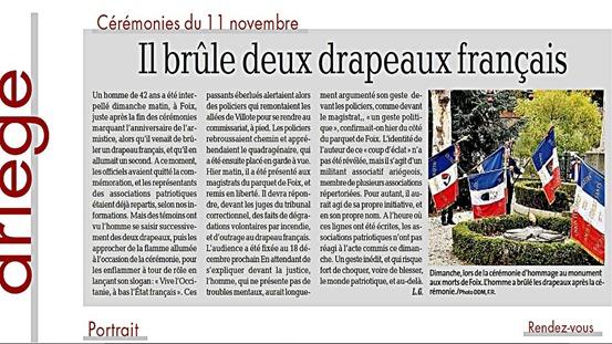 cremar una bandièra francesa l'article publicat per la DDM