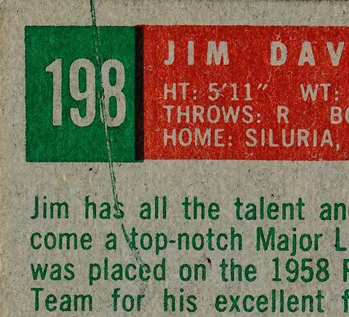 1959 Topps 198 Jim Davenport back variation