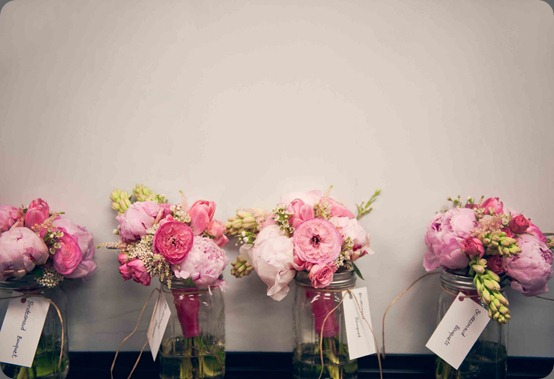 mason jar bouquets  bows and arrows
