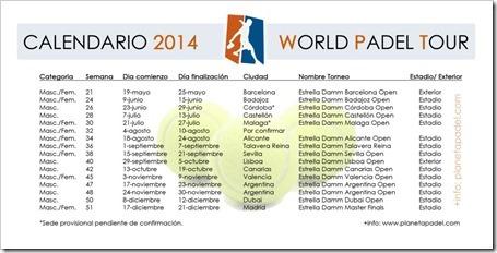 Calendario World Padel Tour 2014 WPT Oficial. +info planetapadelweb