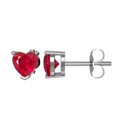 Heart Ruby Solitaire Studs in 14k White Gold