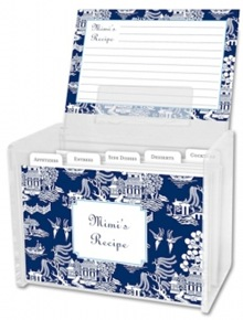 blue and white chinoiserie recipe box
