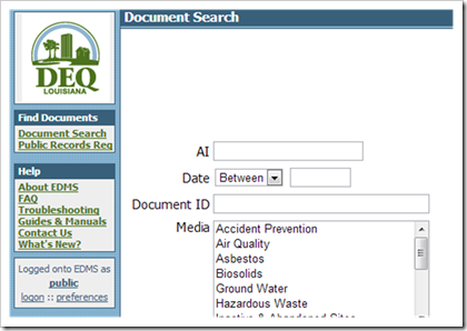 DEQ Louisiana Document Search Air Permits Online Records