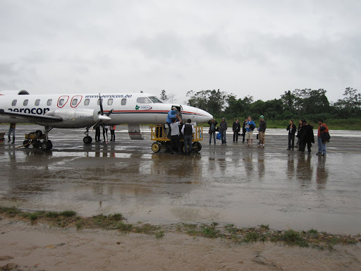 Aircraft servicing on the runway (due to muddy taxiways)