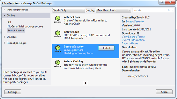 Zetetic Security in NuGet
