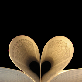 Love Reading by Iveta S. - Novices Only Objects & Still Life ( love, reading, heart, lovers, pages, book, romantic, shape, valentine, romance )
