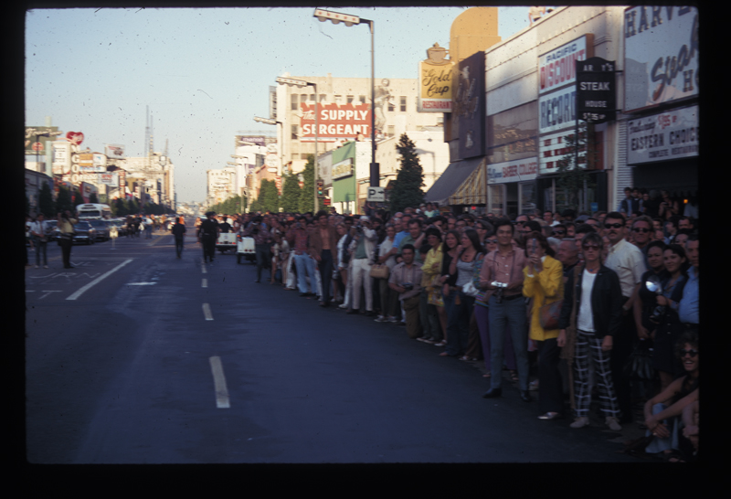 The crowd at Los Angeles' first Christopher Street West pride parade. 1970.