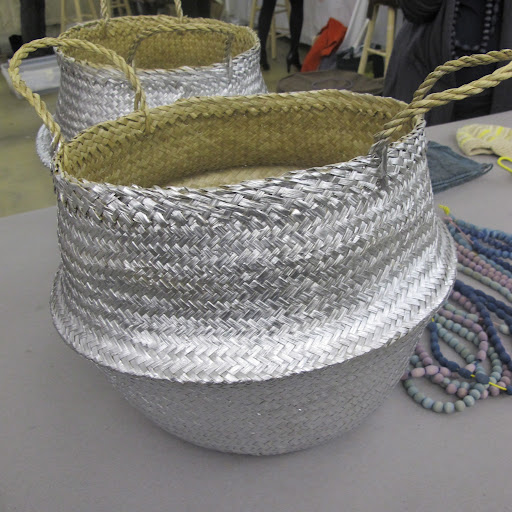 I also love these straw baskets that Silke dipped in metallic silver paint.