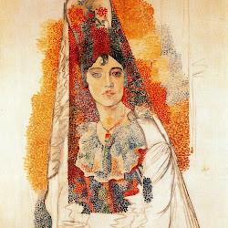 Picasso - (Pablo Ruiz Picasso)  Mujer con vestido español (La Salchichona).jpg