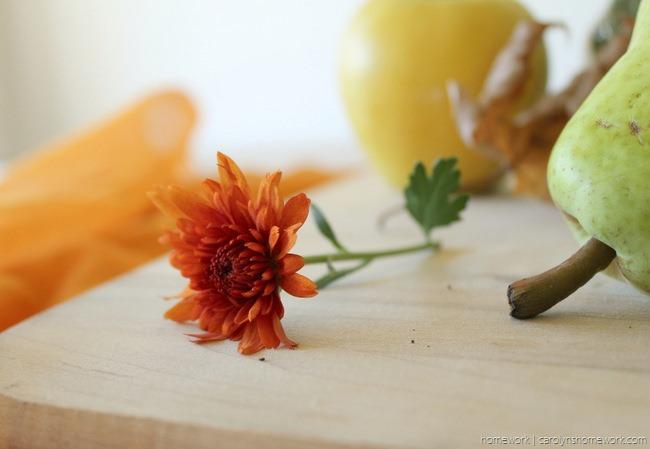 Purple & Orange Fall Centerpiece via homework | carolynshomework.com