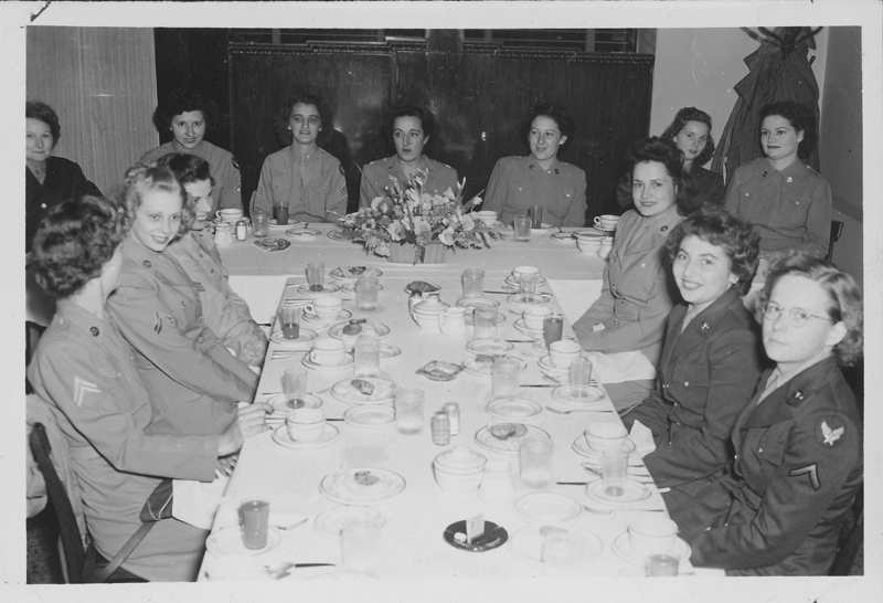 Women's Army Corps (WACS) at Sedalia, Missouri, including Captain Doyle and Seargent Tarter. Marvyl sits far right next to Esther Herbert. September 1945.