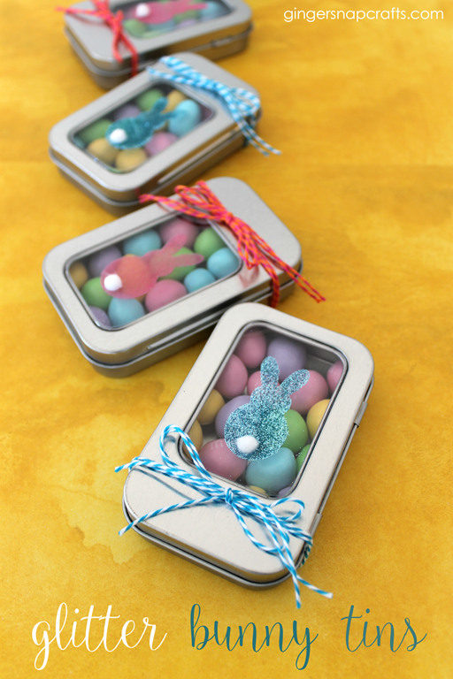 Glitter Bunny Tins #Easter #SilhouetteRocks #gingersnapcrafts