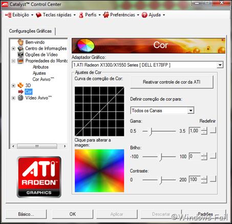 Cor: Permite ajustar configurações de cor, como curva de correção de cor, gama, brilho, contraste, etc.