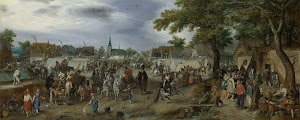 RIJKS: Adriaen Pietersz. van de Venne: Prince Maurice and Frederick Henry at the Valkenburg Horse Fair 1618